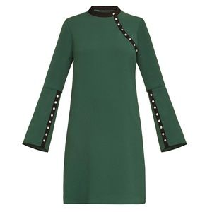 🆕🔥 BCBGMAXAZRIA Kathryne Bell-Sleeve Snap Dress